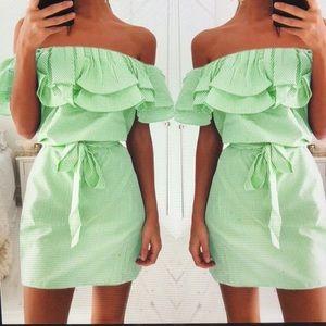 Dresses & Skirts - Off The Shoulder Ruffle Collar Striped Mini Dress